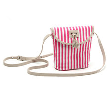 France OBAIBI-OKAID Brand Pink Young Lady Canvas Striped Girls Little Shoulder Bag Cross Body Bag Children Gilrs Messenger Bag