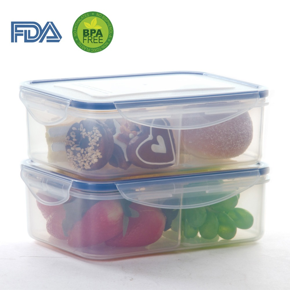 Plastic Food Container with 2 Removable Compartments, Airtight Food Storage Container Set, Set of 2(China (Mainland))
