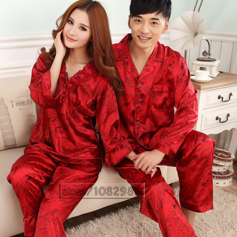 2016 Spring Summer Fall China Silk Pajamas Sets of Sleepshirt & Trousers Couple Sleepwear Valentine Nightgown & Home Clothes(China (Mainland))