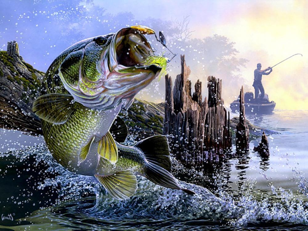 "Lago de pesca baixo do sol pintura pano de seda Poster 32 x 24 "" 17 "" x "" - 003(China (Mainland))"