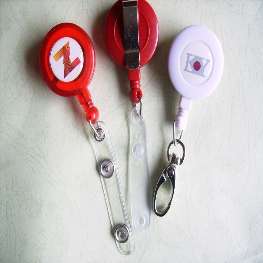 Wholesale Retail Custom your logo Round Solid Plastic Retractable Pull Reel(China (Mainland))