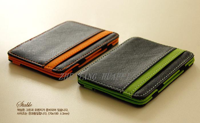 2014 South Korea magic wallet New Mens MAGIC MONEY clips for men purse orange & green size 10cm*7cm*0.8cm(China (Mainland))