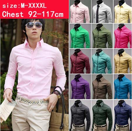M-XXXXL 6 SIZE CHOOSE! 2015 Mens dress shirts Slim fit Unique neckline stylish Dress long Sleeve Shirts colors - HUHA store