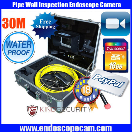 30M DVR waterproof Inspection Video Camera,waterproof Industrial video camera,Pipe video Borescope camera with DVR