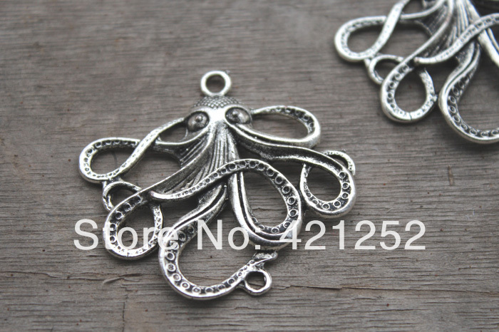 12pcs Octopus Octopus Pendant Octopus Charm Marine Animals Sea Animals Fittings DIY Supplies, Jewelry Making, Findings, 55*45mm(China (Mainland))