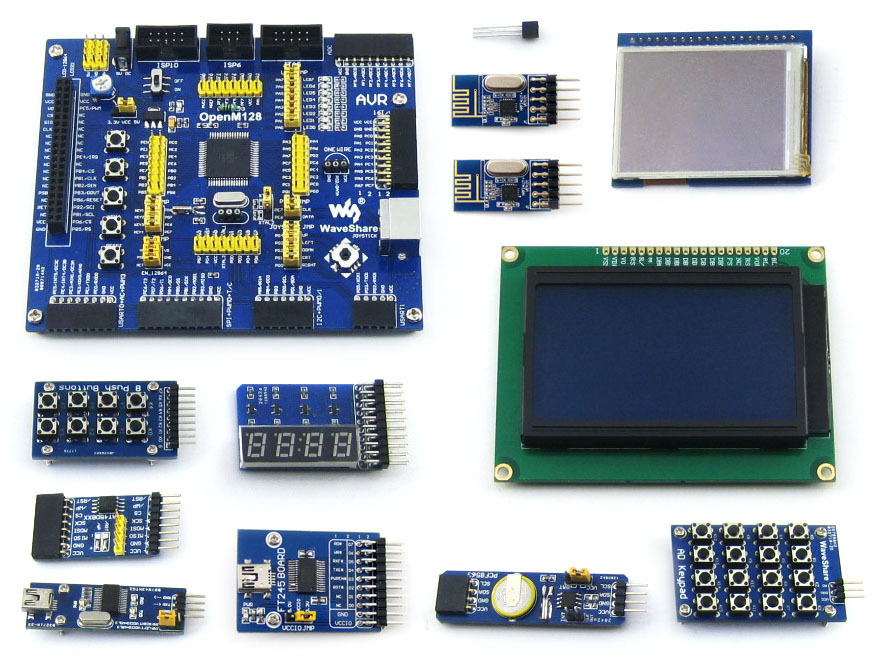 2 pcs ATMEL AVR Development Board ATmega128A-AU 8-bit RISC AVR ATmega128 Development Board +11 Accessory Kit =OpenM128 Package B(China (Mainland))