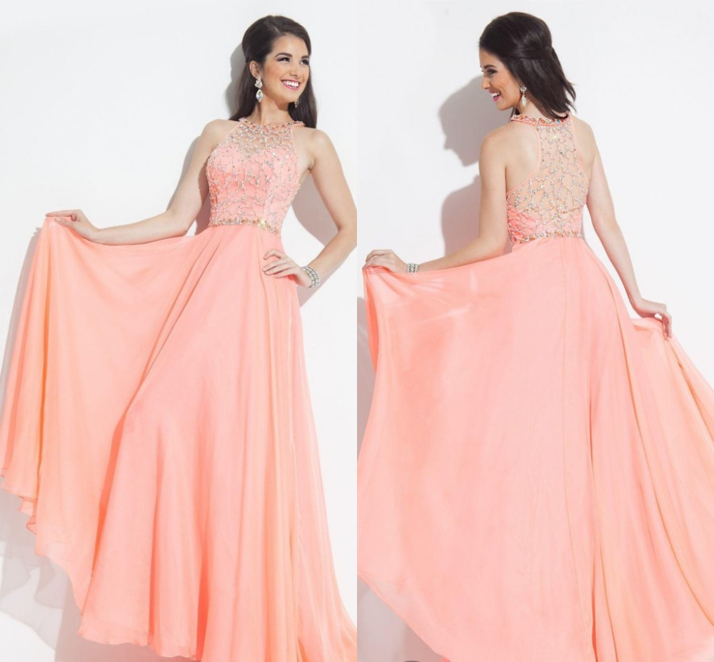 New Fashionable Elegant Long Prom Dresses 2015 With Crystal ...