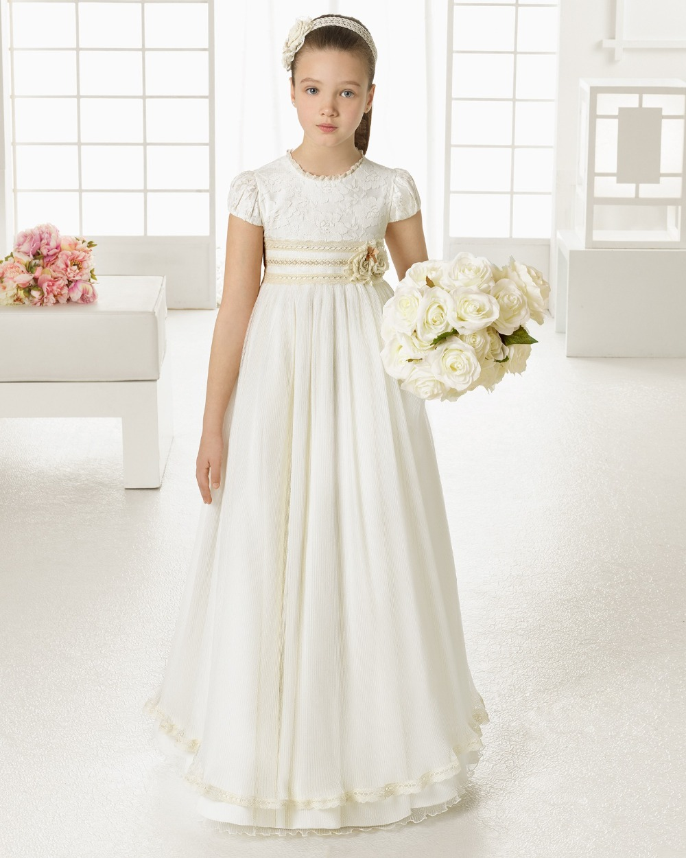 2016 first communion dresses for girls chiffon short