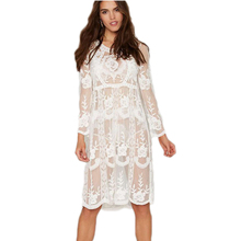 BA289 Unique design loose beach dress summer style 2016 new arrival white lace dress long sleeve knee length swimsuit(China (Mainland))