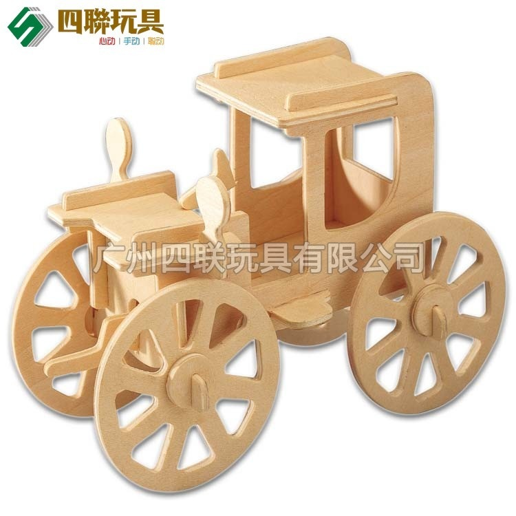 Wooden child puzzle diy assembling model wool classic cars 3d puzzle toy(China (Mainland))