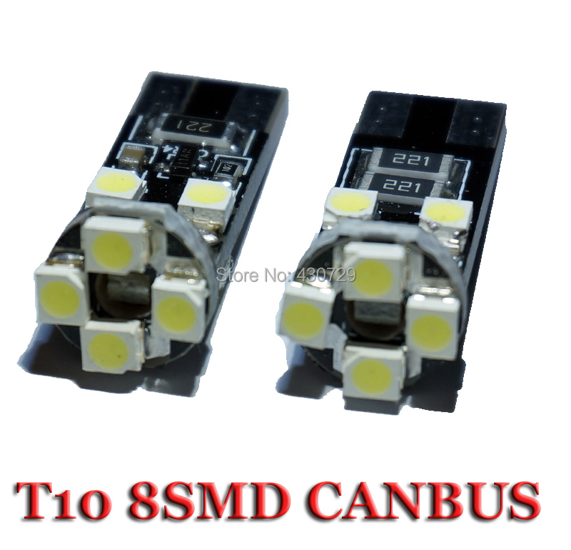 100pcs/Lot canbus T10 8 SMD 3528 LED Canbus No OBC Error 194 168 W5W T10 8SMD LED Interior Instrument Light bulb lamp White(China (Mainland))