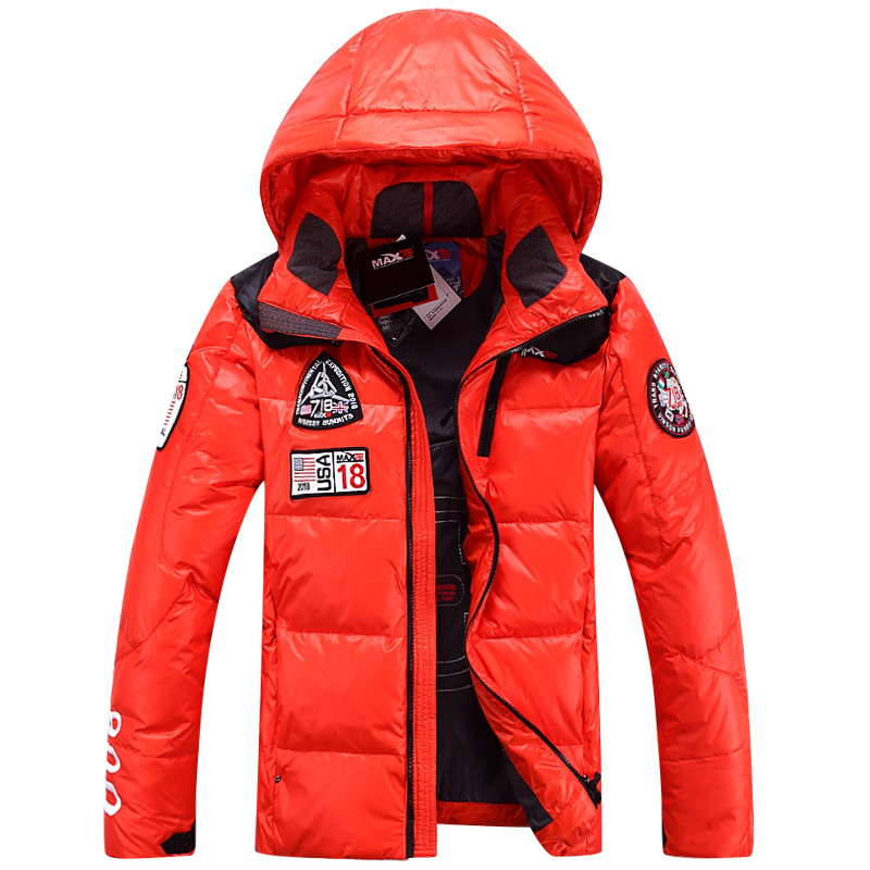2014 Winter Warm Men Down Jacket Casual Sports Overcoat Coat Short Hooded Thicken Slim Luxury Skiing Plus Size Cold XXXL Free(China (Mainland))