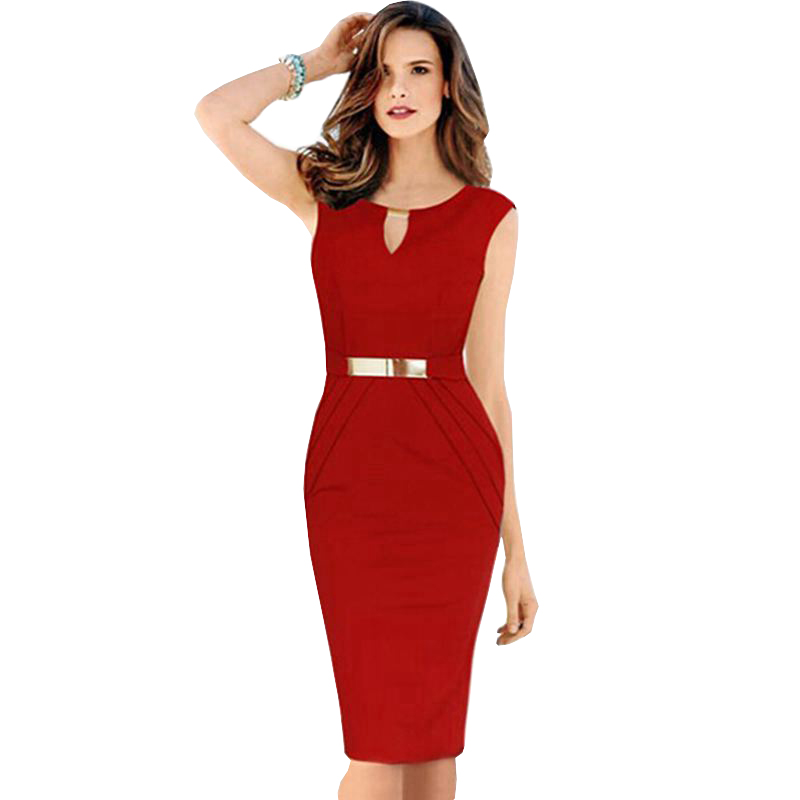 1 PC Euro Fashion Knee Length V-Neck Women Office Dress Summer Women Sexy Slim Party Dresses Metal Buckle Design CCC410S(China (Mainland))