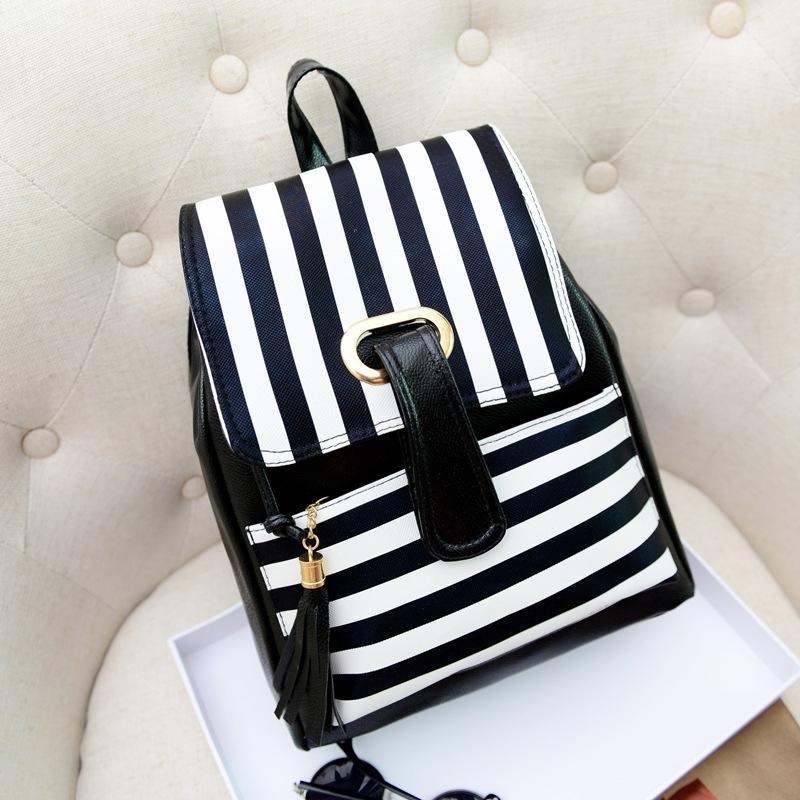 Moda Marka Yeni Siyah Beyaz Pu Deri kadın Sırt çizgili Kadın Okul Sırt Çantaları Ücretsiz kargo HBE08(China (Mainland))