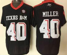 College Texas Aggies Mens 2 Johnny Manziel 9 Ricky Seals-Jones 40 Von Miller 15 Myles Garrett Black Red Whit product(China (Mainland))