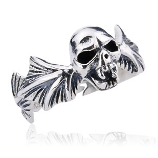 925 sterling silver ring men pinky rings pure silver skull jewelry opening size adjustable gothic punk accessories new D0452(China (Mainland))