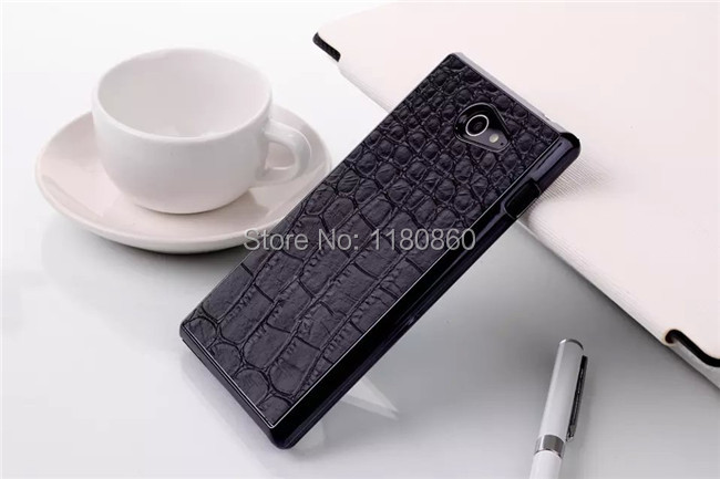 Luxury Black Crocodile Pattern Case Cover For Sony Xperia M2 D2305 D2306 S50h Dual D2302 Experia cases ,Mobile Phone Cases(China (Mainland))