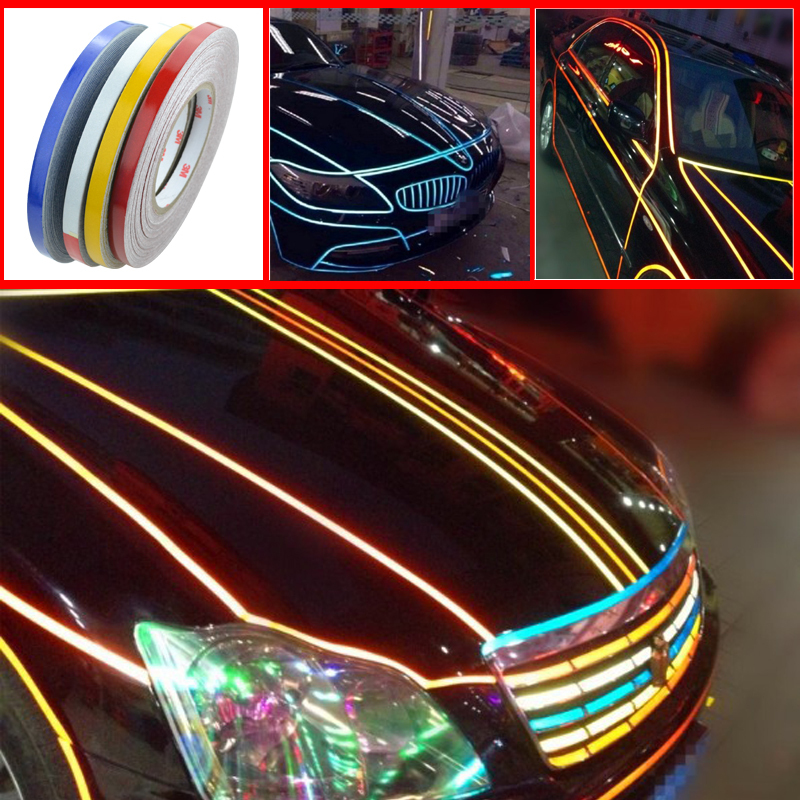 46M*1CM Car styling Super reflective strip car be light garland luminous stickers body decoration full reflectors wholesale(China (Mainland))