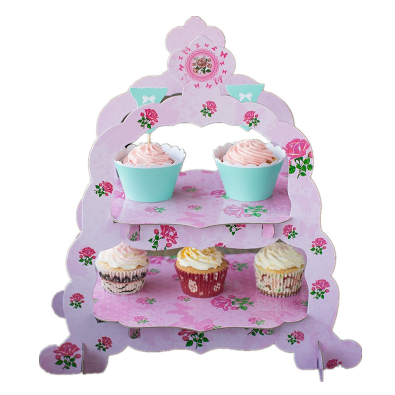 New 3 Color Choose Candy Flower Design Colorful Party Cake Decoration Tools Cupcake Bakeware 2 Layers Paper Cup Cake Stand(China (Mainland))