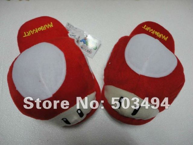 Retail 1 pairs  Super Mario Brothers red Toad Mushroom plush Slipper Super Mario Brothers Red Toad Mushroom Plush slipper