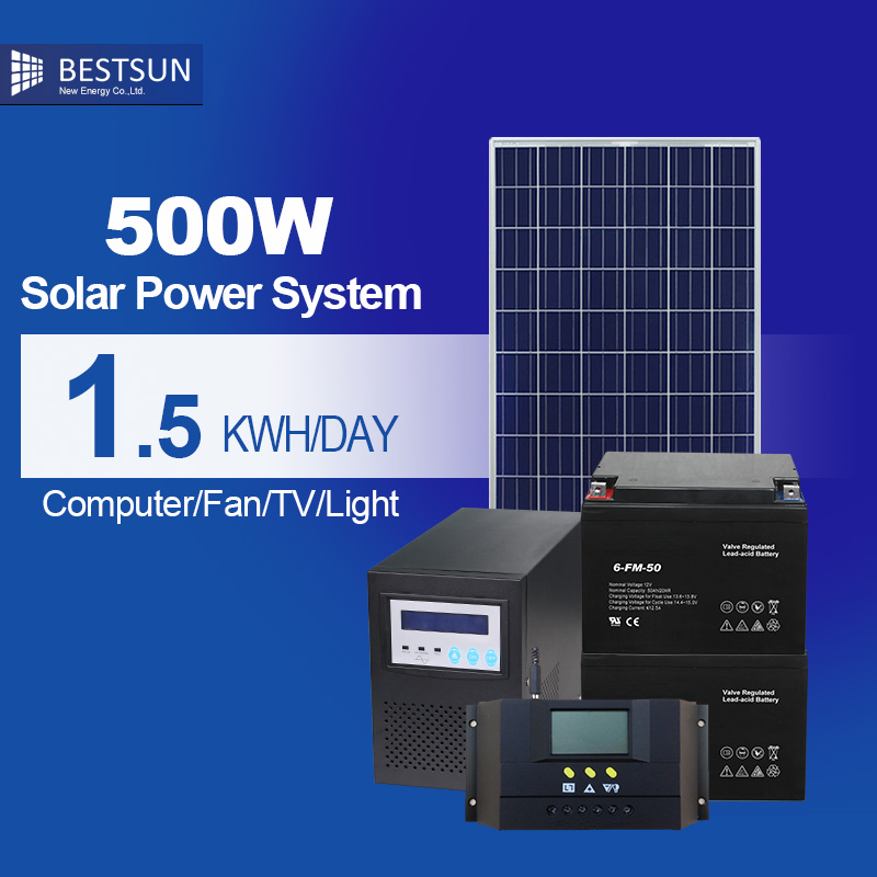 500W solar panel power system for home panneau solaire 12v kit solar 220v off grid solar energy kit controller lcd Inverter(China (Mainland))