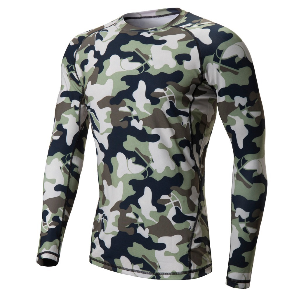 camo men running t shirt long sleeve compression shirts basketball gym. Black Bedroom Furniture Sets. Home Design Ideas