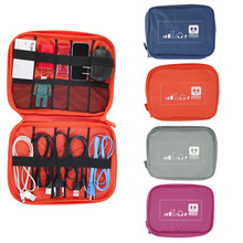 Fashion Multifunction Compact Storage Bag Practical Digital Data Cables Flash Drives Travel Case Waterproof Oxford Cloth Pouch(China (Mainland))