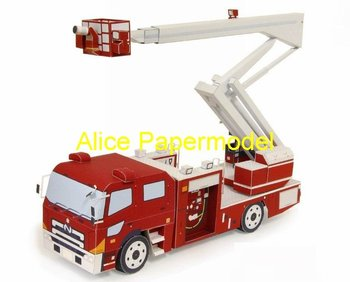 [Alice papermodel]skyarm Fire-fighting engines Aerial laddersarmored vehicles truck Engineering equipment jeep car models