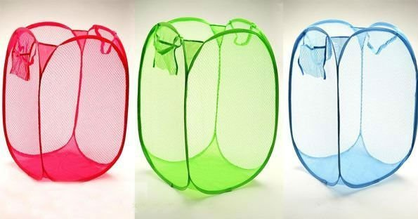 Reinforced nylon mesh laundry basket / laundry basket for clothes airing basket can be folded ( multicolor )