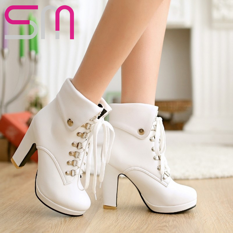 2 styles Fashion Button Lapel Metal Lace up Women Boots Thick High Heels Platform Martin Boots Woman Winter Boots Women's Shoes