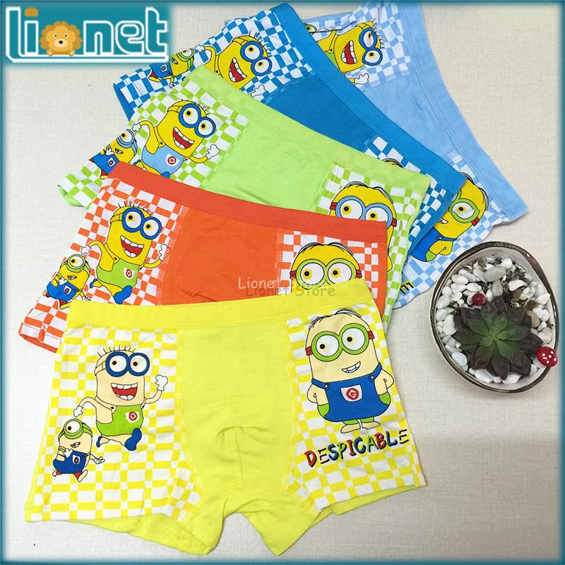 3Pcs Random Color Kids Boys Underwear Cartoon Despicable Me/Minions Children's Panties Modal Baby Boxer Briefs Underware 4-10Y(China (Mainland))