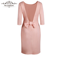 Buy NB SAMENG 2017 New Women Dress Sexy Slash Neck Knee-Length Pencil Party Dress Bow Backless Casual Dresses for $12.85 in AliExpress store