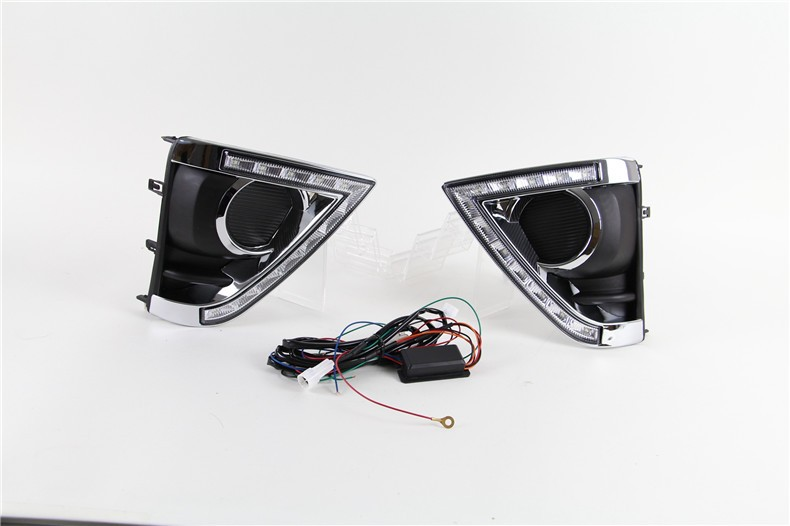 A&T car styling For Toyota YARiS L LED DRL For YARiS L High brightness guide DRL led fog lamps daytime running light Two color
