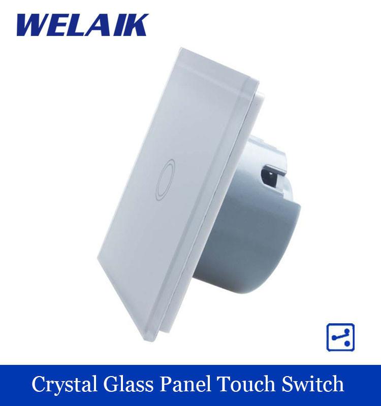 WELAIK Crystal Glass Panel Switch White Wall Switch EU Touch Switch Screen Wall Light Switch 1gang2way AC110~250V A1912XW/B