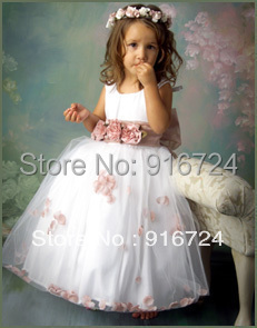 Hot Free Shipping   A-line Flower Girl Dress\Baby Girl Party Dress with Flowers Sash Custom Made