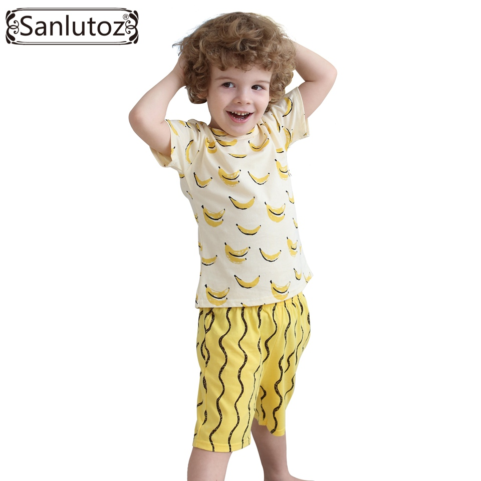 Boys Clothing Set Cotton Kids Clothes Summer Children Clothing Set for Boys Sport Suits Banana (Tshirts + Shorts) Brand 2016(China (Mainland))