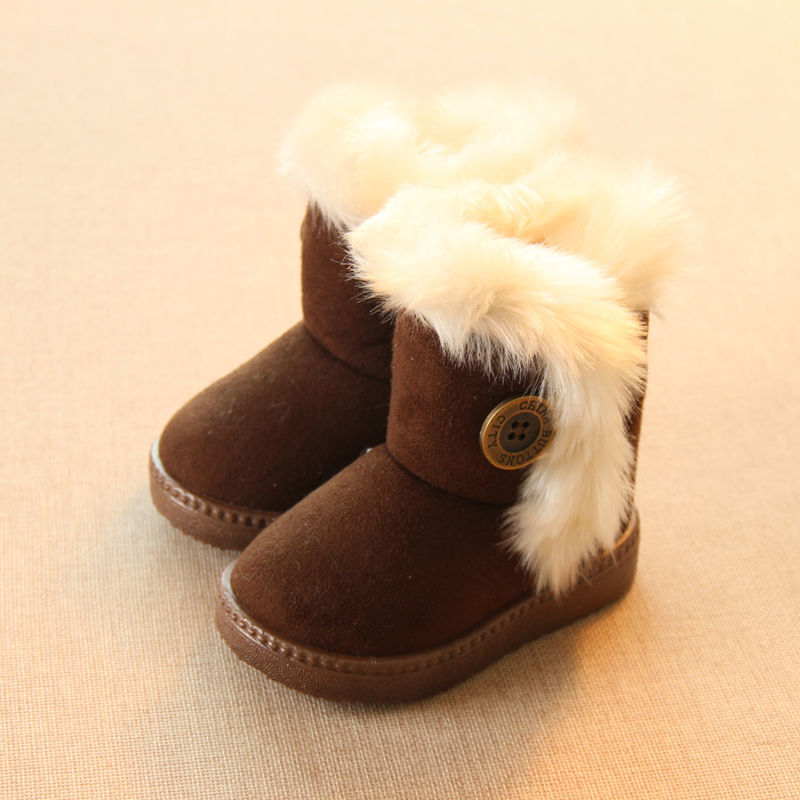 Add Wool Warm Snow Boots For Children Non-slip Flat Round Toe Girls Baby Lovely Boots 2016 New Winter 4 Colors(China (Mainland))
