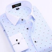 New Brand Men Shirts Long Sleeve Male Business Casual Printed Fashion Formal Dress Shirts Slim Fit Masculina Camisa Plus Size(China (Mainland))