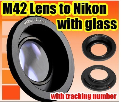 free shipping Lens Adapter M42 Lens to Nikon AI Mount Adapter Converter Optic Focus Infinity (with glass)