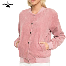 MissKoKo Women Fashion Pink Jacket Solid Streetwear Casual Basic Chic Coat Crew Neck Long Sleeve Single Breasted Pockets Coat(China (Mainland))