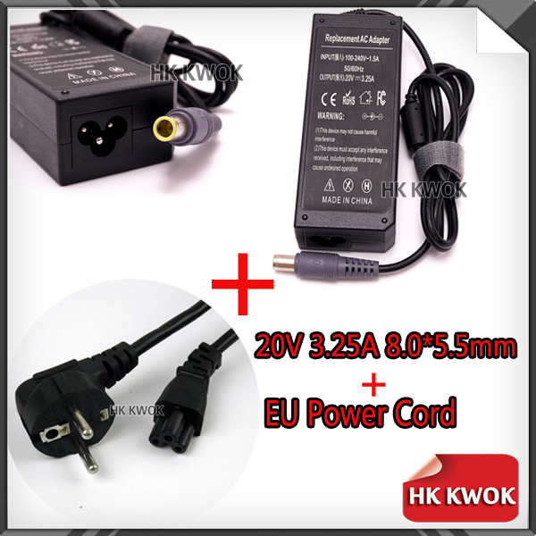EU Power Cord + 20V 3.25A AC Adapter Charger For lenovo Notebook N108 Z60 Z60M Z60T Z61e Z61m 8.0 * 5.5mm Laptop Power Supply(China (Mainland))