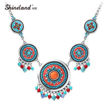 Buy Shineland Fashion Hand Made Ethnic Enamel Choker Necklace Multicolor Beads Boho Statement Jewelry Women Accessories 2016 for $4.66 in AliExpress store