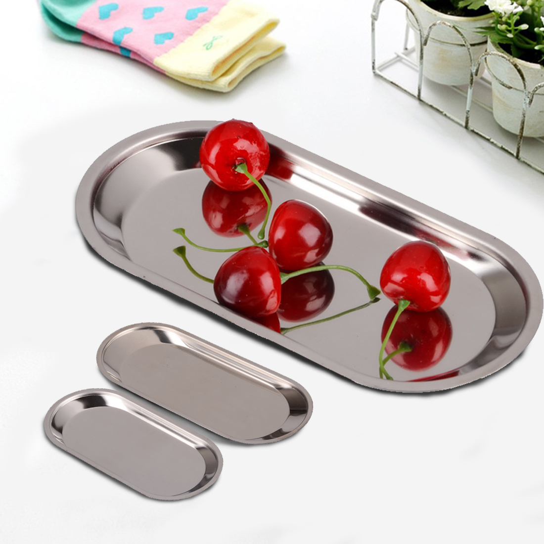 New Fashion Thick Stainless Steel Storage Trays Barbecue Plate Rice Dish Canteen Restaurant Dinnerware(China (Mainland))