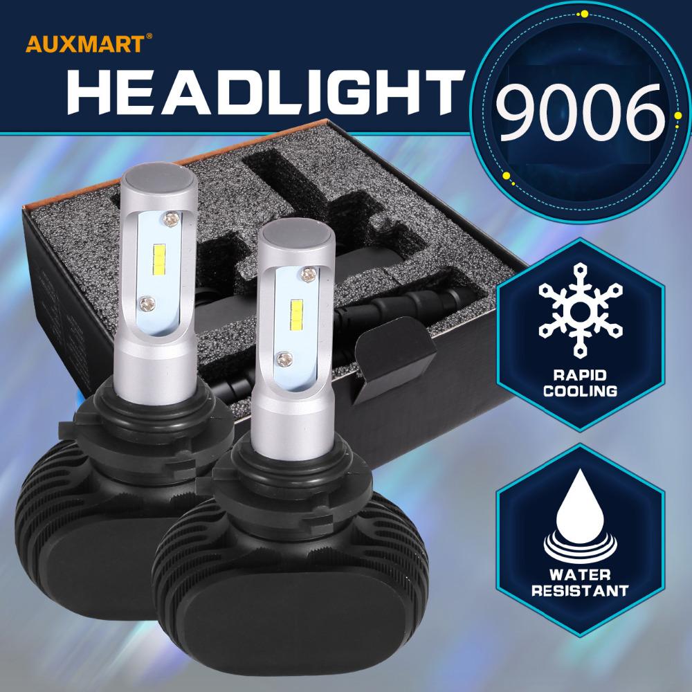 Auxmart 9006 50W Car Headlight Bulb CSP Cree Chips 6500K 8000LM LED Single beam Driving Headlight LED Fog lamp All In One12v 24v