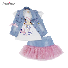 2017 fashion summer children clothing sets girl outfits Denim short vest jackets cotton kids cartoon tops skirt suits clothes(China (Mainland))