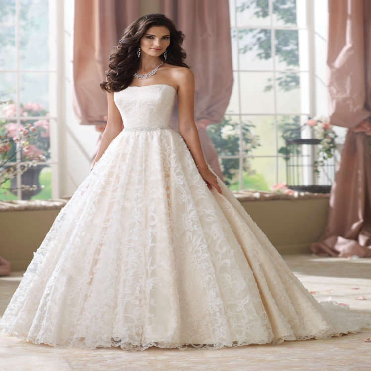 2015 stunning sweetheart ball gown wedding dress with lace for Lace wedding dress belt