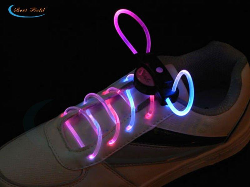 Free Shipping 10pcs/5pairs Luminous LED Multicolors Shoelaces Flash Light up Glowing Stick Strap Shoe Strings Disco Party Night(China (Mainland))