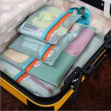 2016 Hot 1set/4pcs Mesh Clothes Bag Luggage Case Bag Suitcase Travel Underwear bagFree Shipping Travel Accessories HBG10(China (Mainland))