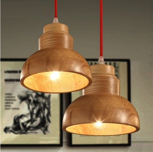 Фотография American Village Loft Wood Art Droplight Modern LED Pendant Light Fixtures For Dining Room Bar Hanging Lamp Indoor Lighting