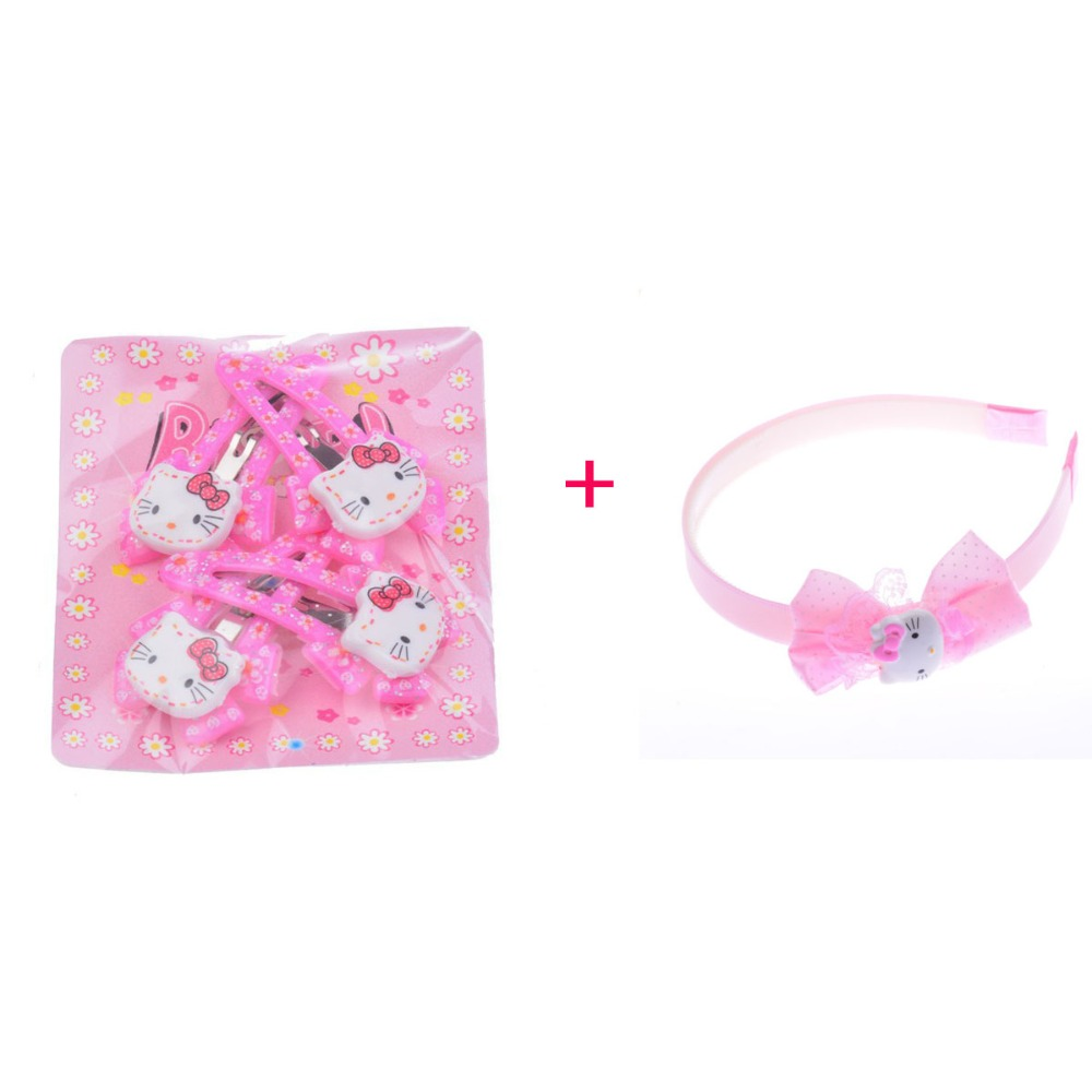 Six Colors Baby Girl Hair Clip 4 Pieces/Bag+1 Piece Hello Kitty Headband Combination Hair Accessories For Girls(China (Mainland))